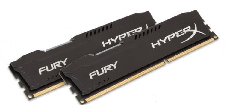 8ГБ (2×4ГБ), DDR4, Kingston HyperX FURY black, 2400 Mhz